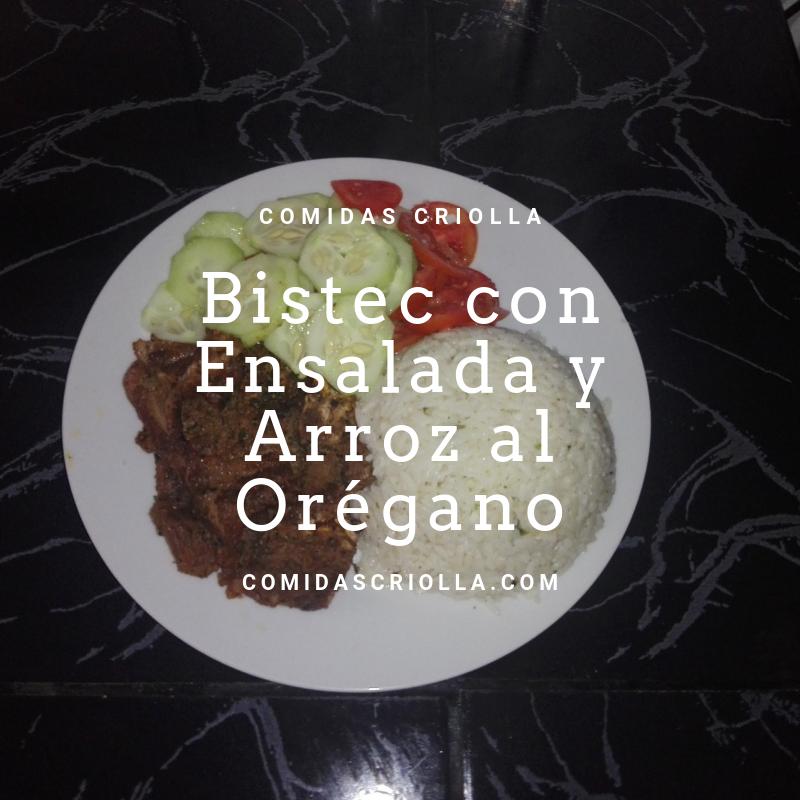 Bistec con Ensalada y Arroz al Orégano